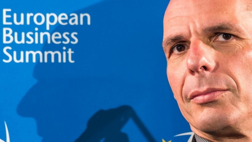 "Greece's Finance Minister Yanis Varoufakis talks during a debate on structural reforms at the European Business Summit in Brussels on Thursday, May 7, 2015. France says talks between Greece and its bailout creditors are going the right way and hopes that Monday's eurozone meeting will see the sides narrow their differences enough to have a deal ""within hand's grasp.""(AP Photo/Geert Vanden Wijngaert)"