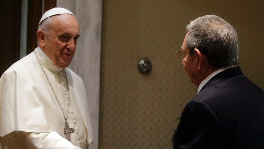 May 10, 2015: Pope Francis meets Cuban President Raul Castro during a private audience at the Vatican.