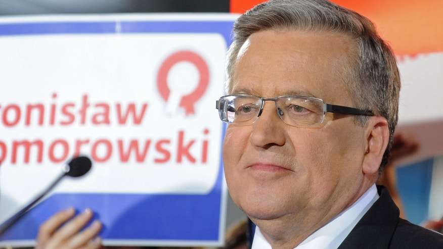 May 10, 2015 - Polish President Bronislaw Komorowski  looks at supporters after first exit polls indicate he lost the first round of the presidential election to main opposition candidate Andrzej Duda, during the election night in Warsaw, Poland.