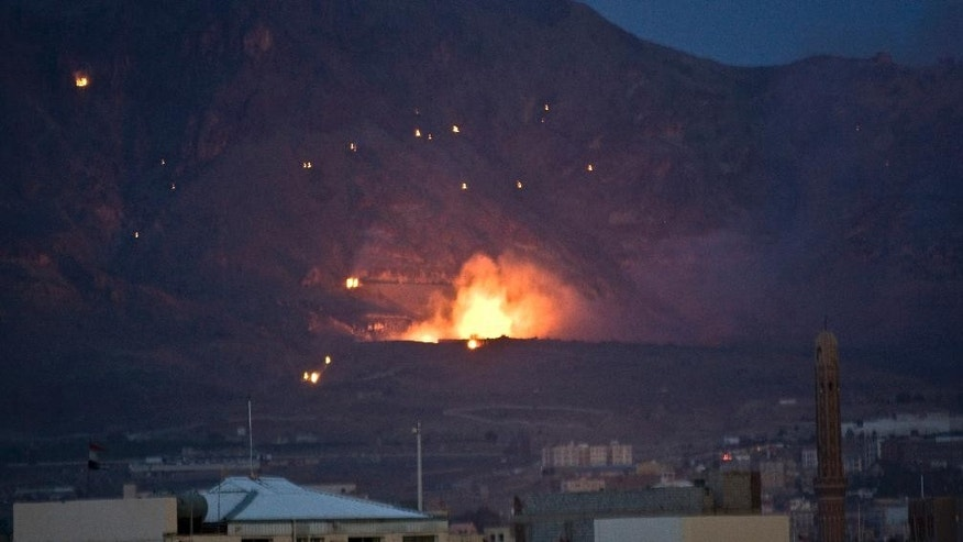 May 11, 2015: A Saudi-led airstrike hits a site believed to be a weapons cache in Yemen's capital, Sanaa.
