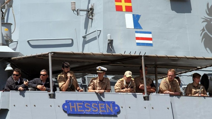 The German Navy ship Hessen is moored at the Reggio Calabria harbor, Saturday, May 9, 2015. Ireland and France are the latest European Union nations answering Italy's pleas for help with the rescue of migrants' who are risking their lives on smugglers' boats in the Mediterranean. Two German ships and a British vessel are already pitching in, after Italy appealed for help with the migrants, who arrive daily by the hundreds or by the thousands on overcrowded, unseaworthy fishing boats and dinghies setting sail from Libya, where the smugglers are based. (AP Photo/Adriana Sapone)