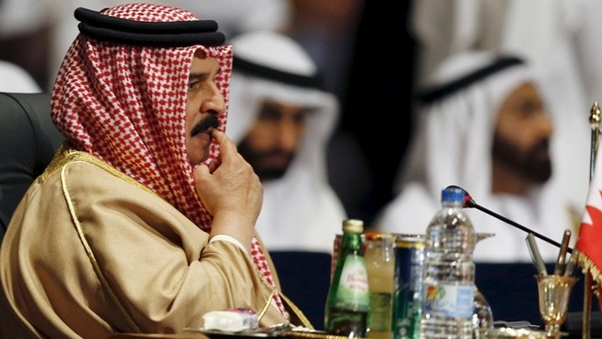 March 28, 2015: Bahrain's King Hamad bin Isa al-Khalifa attends the opening meeting of the Arab Summit in Sharm el-Sheikh, in the South Sinai governorate, south of Cairo.