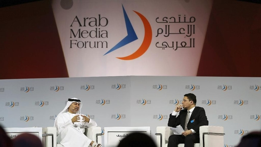 Emirati Minister of State for Foreign Affairs, Anwar Gargash talks at the Arab Media Forum in Dubai, United Arab Emirates, Wednesday, May 13, 2015. Gargash said the Saudi-led intervention into Yemen aims to prevent the creation of a group like Hezbollah on the Arabian Peninsula. (AP Photo/Kamran Jebreili)