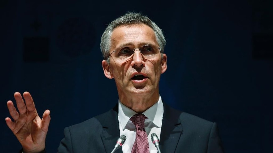 Secretary General of NATO, Jens Stoltenberg gestures as he addresses the media following the NATO Foreign Ministers' conference in Antalya, Turkey, Thursday, May 14, 2015. The NATO ministers had gathered for two days in the southern Turkish city to plot strategy amid the continued crisis in Ukraine and instability throughout the Middle East, including in neighboring Syria and Iraq. (AP Photo/Lefteris Pitarakis)