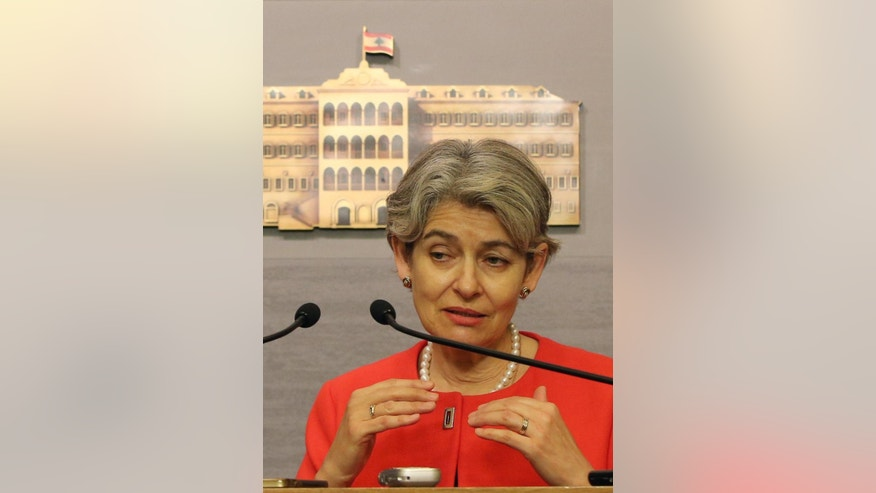The chief of the U.N.'s education and culture agency, Irina Bokova of Bulgaria, speaks to reporters after her meeting with Lebanese Prime Minister Tammam Salam, in Beirut, Lebanon, Friday, May 15, 2015. Bokova is visiting Lebanon to meet with Lebanese senior officials and students, and pledge UNESCO's support to the country's efforts to respond to the regional crisis and foster cultural diversity. (AP Photo/Hussein Malla)