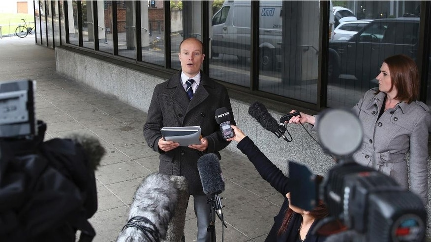 "Ben Southam, Senior Crown Prosecutor from the CPS North West Complex Casework Unit, talks to the media outside Manchester Crown Court, Manchester England, Monday, May 18, 2015,  after nurse Victorino Chua was found guilty by a jury of murdering and poisoning hospital patients at Stepping Hill Hospital. A medical mystery that began four years ago with unexplained deaths in a British hospital ended Monday when a ""frustrated"" nurse was convicted of using insulin to murder two patients. The 49-year-old nurse, a father of two daughters, was also convicted of trying to poison 20 other patients during what police called a reign of terror at Stepping Hill Hospital in Stockport, 200 miles (320 kilometers) northwest of London. (Peter Byrne/PA via AP) UNITED KINGDOM OUT"