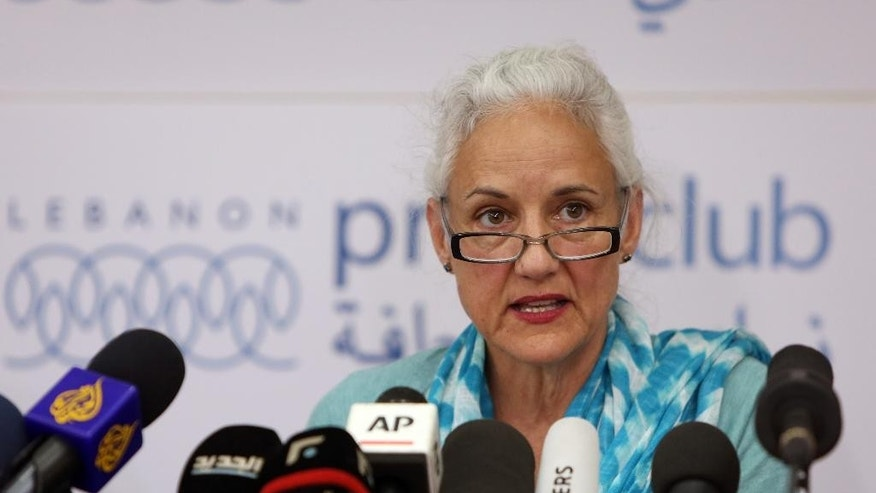 Deborah Tice, mother of Austin Tice who is missing in Syria, speaks during a press conference, at the Press Club, in Beirut, Lebanon, Tuesday, May 19, 2015. Journalist Austin Tice, of Houston, Texas, disappeared in August 2012 while covering Syria's civil war. It's not clear what entity is holding him, but it is not believed to be the Islamic State group or the Syrian government, his family has said. (AP Photo/Bilal Hussein)