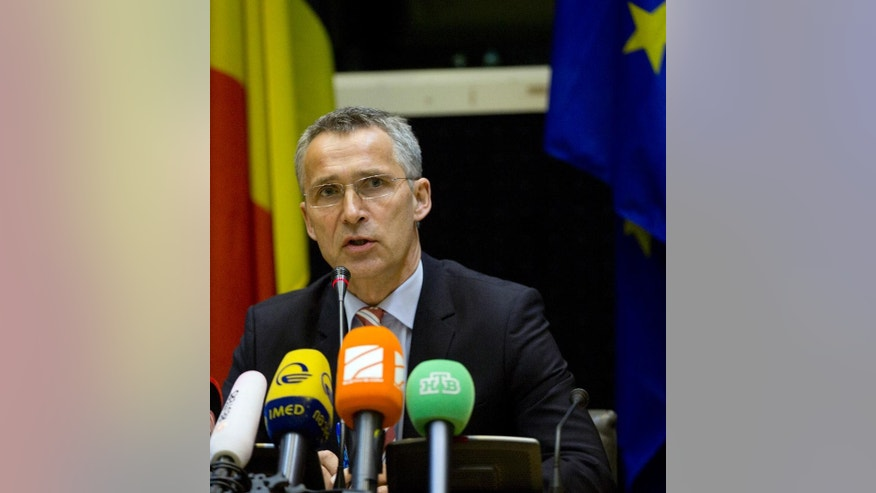 NATO Secretary General Jens Stoltenberg speaks during a media conference after a meeting of the Council of Europe in Brussels on Tuesday, May 19, 2015. Stoltenberg met with Russian Foreign Minister Sergey Lavrov on Tuesday to discuss the situation in Ukraine. (AP Photo/Virginia Mayo)