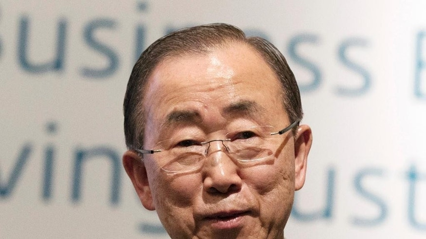 U.N. Secretary-General Ban Ki-moon speaks during the 'UN Global Compact - Korea Leaders Summit' event in Seoul, South Korea, Tuesday, May 19, 2015. Ban on Tuesday said that he will visit a factory park in North Korea that is the last major cooperation project between the rival Koreas.(Yun Dong-jin/Yonhap via AP) KOREA OUT