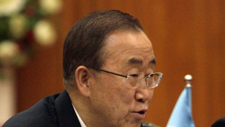 U.N. Secretary-General Ban Ki-moon speaks during his meeting with Vietnamese Prime Minister Nguyen Tan Dung in Hanoi, Vietnam Friday, May 22, 2015. Ban, who was on a two-day visit to Vietnam, called for peaceful solutions to territorial disputes in the South China Sea, where China's assertiveness has alarmed its smaller neighbors. (AP Photo/Tran Van Minh)
