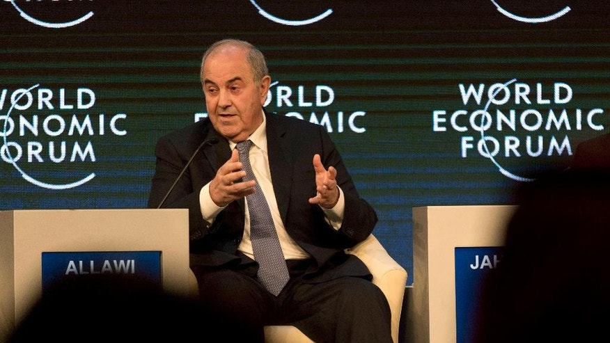 "Iraq's Vice President Iyad Allawi takes part in the ""Addressing Violent Extremism"" session of the World Economic Forum, at the King Hussein convention center, Dead Sea resort of Southern Shuneh, Jordan, Saturday, May 23, 2015. (AP Photo/ Nasser Nasser)"