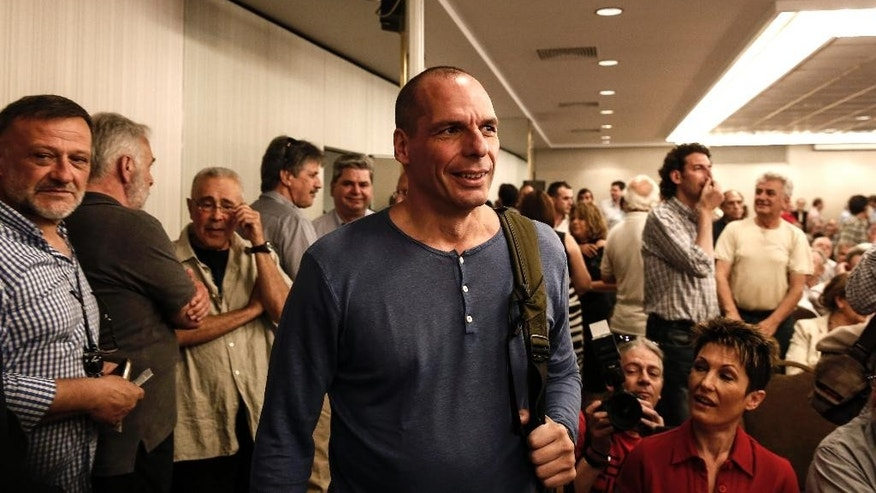 "Greece's Finance Minister Yanis Varoufakis arrives for a Syriza party central committee meeting in Athens, Greece, on Saturday, May 23, 2015. Tsipras has told leaders of the governing Radical Left Coalition that Greece is ready to accept a ""viable and long lasting"" deal with its lenders, but not on ""humiliating terms."" (AP Photo/Yorgos Karahalis)"