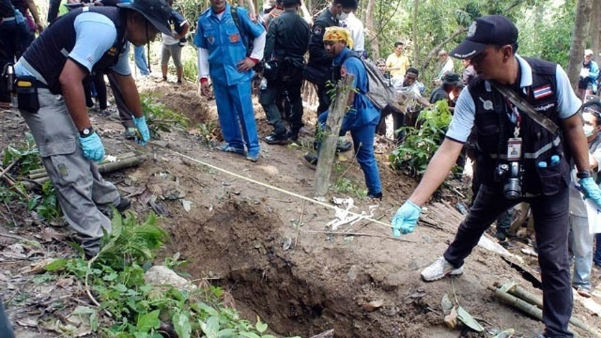 May 2, 2015: Thai police officials measure a shallow grave in Padang Besar, Songkhla province, southern Thailand. (AP Photo/Sumeth Panpetch, File)