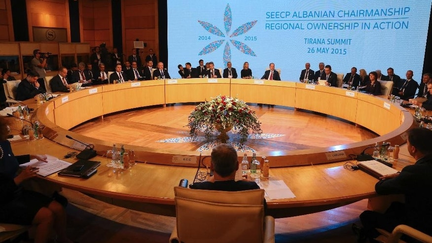 Several presidents, heads of governments and senior officials take part in the summit of South East European Cooperation Process, a regional grouping of 13 Balkan and eastern European countries promoting cooperation along efforts from most of them toward joining European Union and NATO, in Albanian capital Tirana at the end of its one-year rotating president Tuesday, May 26, 2016. (AP Photo/Hektor Pustina)