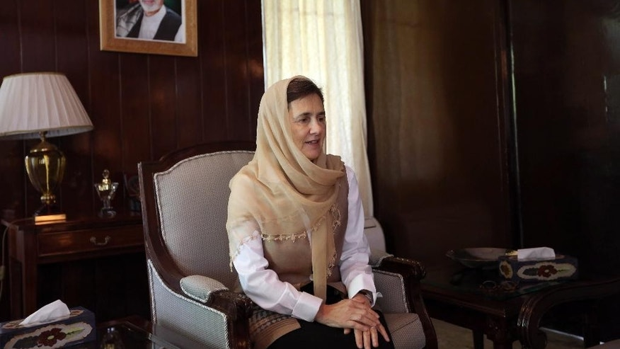 In this Monday, May 25, 2015 photo, Afghan first lady Rula Ghani speaks during an interview with The Associated Press at the presidential palace in Kabul, Afghanistan. Rula Ghani has been quietly breaking conventions since she became first lady in a society that traditionally keeps its women behind closed doors. In the eight months since her husband, President Ashraf Ghani, acknowledged her as his life partner in his inauguration speech, she has spoken out on a range of contentious issues violence against women, the rule of law and the power of religion. (AP Photo/Rahmat Gul)