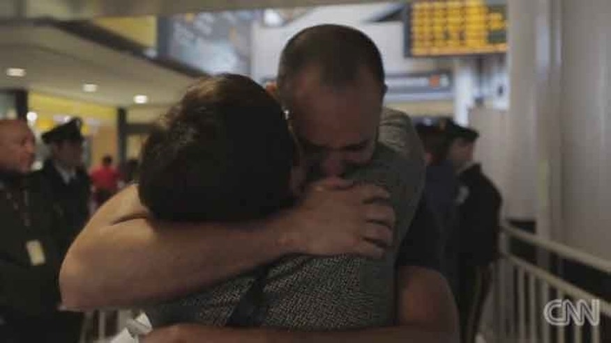 Mother and son in their first embrace at the Merino International Airport in Santiago, Chile. (Photo: Screen grab from CNN video)