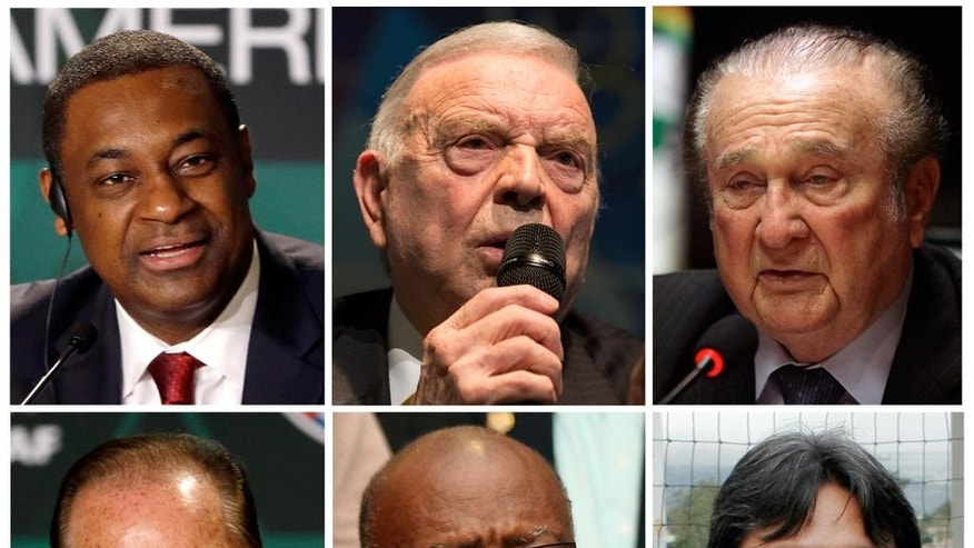 FILE - This is a  combo of six file photos of the soccer officials involved in the US Justice Department  of investigation into corruption at FIFA. From top left clockwise a  Jeffrey Webb: Current FIFA vice-president and executive committee member, Concacaf president,  Jose Maria Marin Current member of the FIFA organising committee for the Olympic football tournaments, Nicolas Leoz former FIFA executive committee member and Conmebol president,  Eugenio Figueredo current FIFA vice-president and executive committee member, Jack Warner, former FIFA vice-president and executive committee member, Concacaf president,  and Eduardo Li, current FIFA executive committee member-elect, Concacaf executive committee member .  (AP Photo/File)