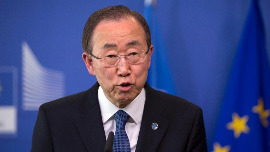 United Nations Secretary-General Ban Ki-moon speaks during a media conference at EU headquarters in Brussels, Wednesday, May 27, 2015. Ki-moon met with EU leaders and called for international solidarity to deal with the issue of tens of thousands of migrants crossing the Mediterranean in the hope of starting a better life in Europe. (AP Photo/Virginia Mayo)