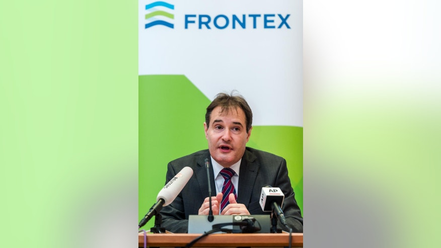 The Executive Director of Frontex Fabrice Leggeri addresses the media on the general migratory situation at the external borders of the EU, at Frontex offices in Brussels on Thursday, May 28, 2015.  (AP Photo/Geert Vanden Wijngaert)