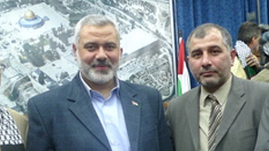 Hamas leader Ismail Haniyeh, (l.),  with Majed Al-Zeer, director-general of the Palestinian Return Centre. (UN Watch)