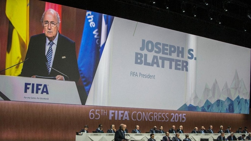 FIFA president Joseph S. Blatter speaks during the 65th FIFA Congress held at the Hallenstadion in Zurich, Switzerland, Friday, May 29, 2015 where he runs for re-election as FIFA head. (Patrick B. Kraemer/Keystone via AP)