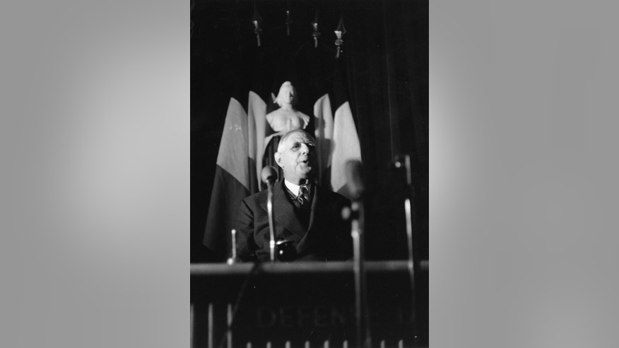 "FILE - In this March 10, 1961 file photo, France's President, Charles De Gaulle speaks at the French General Assembly, in Paris. Britain's ambitions to become a member of the European Economic Community were twice dealt a blow in the 1960s when de Gaulle vetoed the country's applications. Non, he said, claiming that Britain could bring about the end of what was then commonly referred to as the ""common market."" (AP Photo/Levy, File)"