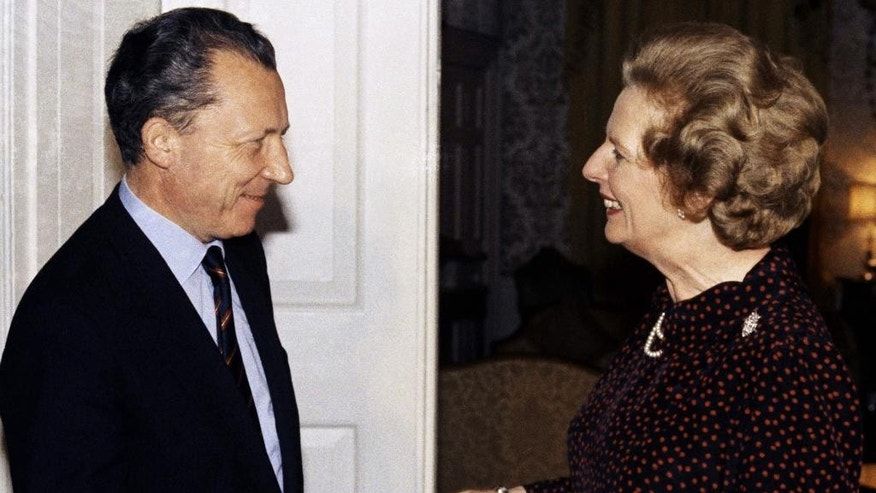 FILE - In this Oct. 15, 1984 file photo, Britain's Prime Minister Margaret Thatcher greets France's Jacques Delors, the then president-elect of the European Commission, inside 10 Downing Street, London. Though Thatcher had been a prominent supporter of  British membership of the European Economic Community in the 1975 referendum her 11-year premiership became increasingly dominated by her opposition to it. In fact, it was her vocal antipathy to the growing integrationist tendencies in Europe, epitomized by Delors, that contributed to her downfall in 1990.  (Pool Photo via AP,  File)