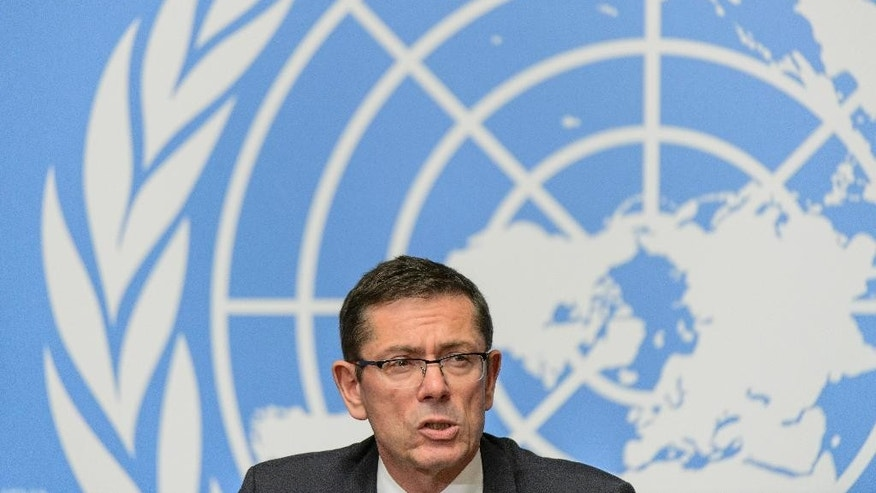 Ivan Simonovic, Assistant Secretary-General for Human Rights, speaks during a press conference about the latest report by the UN Human Rights Mission in Ukraine at the European headquarters of the United Nations in Geneva, Switzerland, Monday, June 1, 2015. (Jean-Christophe Bott/Keystone via AP)