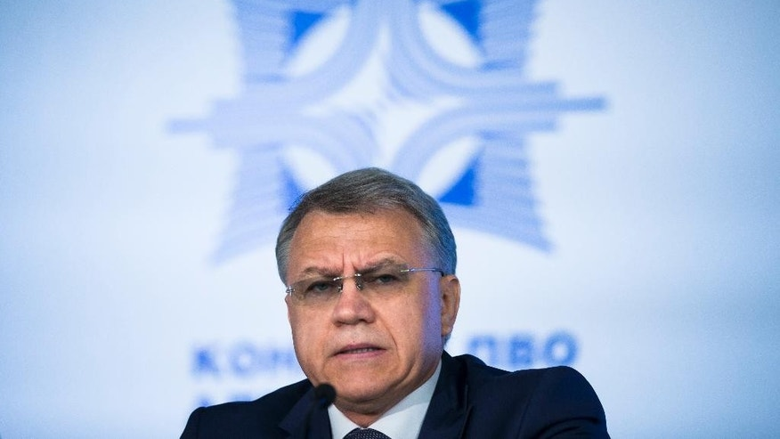 Almaz-Antei director Yan Novikov speaks during a news conference in Moscow, Russia, Tuesday, June 2, 2015. The Russian maker of the Buk air defense missile system said Tuesday that it has concluded that Malaysian Airlines flight 17 was downed by an older version of the missile, which isn't in service with the Russian military but is in Ukrainian arsenals. (AP Photo/Ivan Sekretarev)