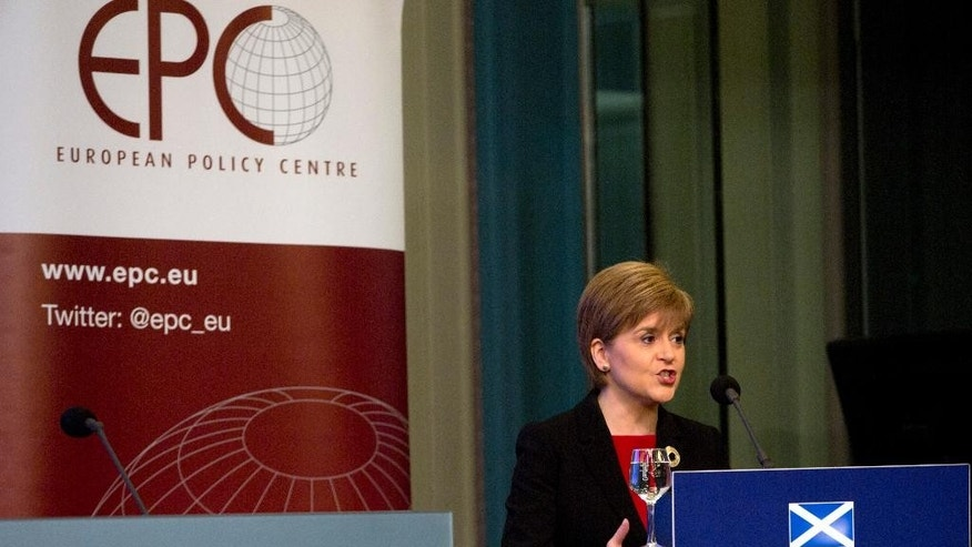 Scotland's First Minister Nicola Sturgeon addresses the audience during a policy speech at the Residence Palace in Brussels on Tuesday, June 2, 2015. This is Sturgeon's first EU address since the British elections. (AP Photo/Virginia Mayo)