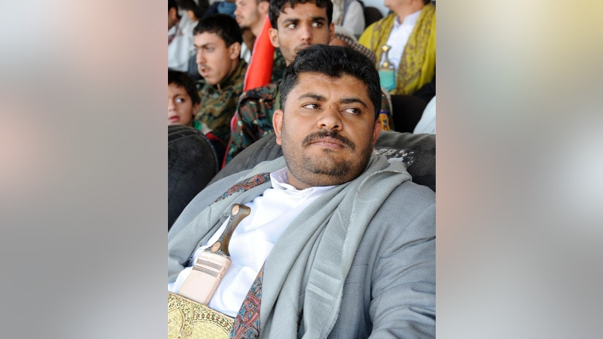 Feb. 7, 2015: Mohammed al-Houthi, who heads the Houthi rebels' powerful Revolutionary Council, attends a rally in support of the Houthis at a sports stadium in Sanaa, Yemen.