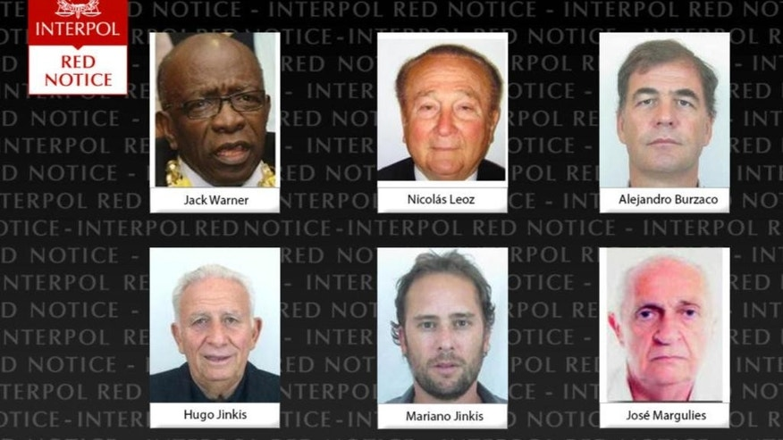 "This screengrab of Interpol's website shows undated portraits of men who were added to Interpol's most wanted list on Wednesday, June 3, 2015. Top row, from left to right, are Jack Warner, Nicolas Leoz and Alejandro Burzaco. Bottom row from left are Hugo Jinkis, Mariano Jinkis and Jose Margulies. Interpol added these men with ties to FIFA to its most wanted list, issuing an international alert for the two former FIFA officials and four executives on charges including racketeering and corruption. The Interpol ""red notice"" means they risk arrest anywhere they travel. (Interpol via AP)"