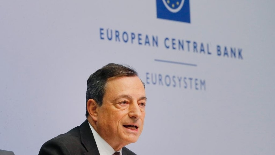 President of the European Central Bank Mario Draghi speaks during a news conference in Frankfurt, Germany, Wednesday, June 3, 2015, following a meeting of the ECB governing council. (AP Photo/Michael Probst)