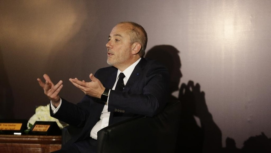 "Stephane Richard, the chief executive officer of French mobile phone company Orange, speaks during a press conference in Cairo, Egypt, Wednesday, June 3, 2015. Richard said he would end his company's relationship with an Israeli operator that pays to use its name ""tomorrow"" if he could, but that to do so would be a ""huge risk"" in terms of penalties. He was holding the news conference Wednesday with Yves Gauthier, the chief executive officer of its Egyptian brand Mobinil. (AP Photo/Thomas Hartwell)"
