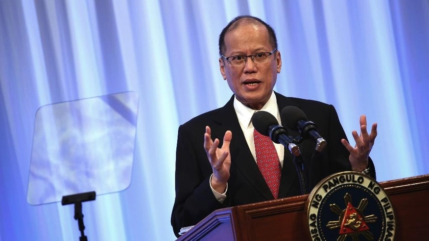 "Philippine President Benigno Aquino III delivers a keynote speech at the special session of the International Conference on ""The Future of Asia"" in Tokyo, Wednesday, June 3, 2015. Aquino is in Japan for a four-day state visit. (AP Photo/Eugene Hoshiko)"