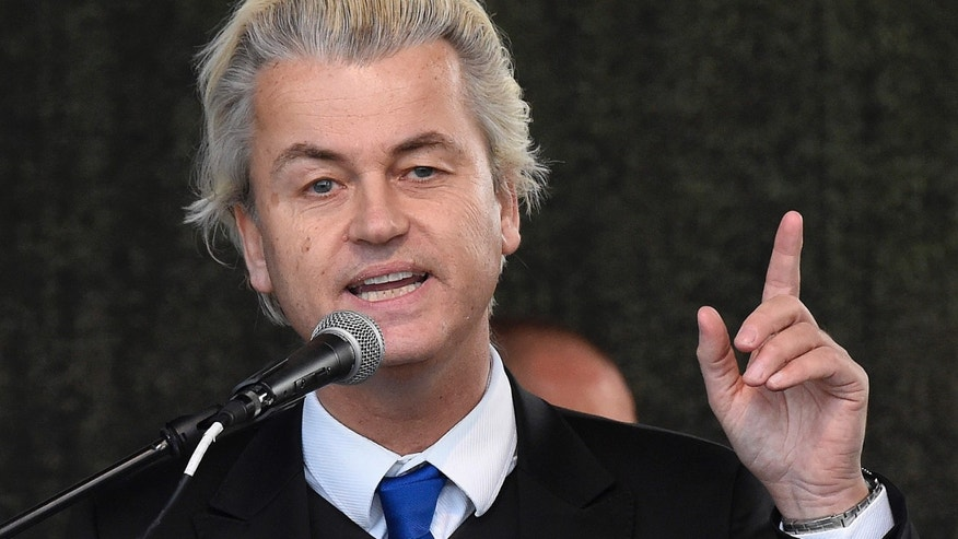 April 13, 2015: Dutch anti-Islam lawmaker Geert Wilders as he speaks at a rally of so-called 'Patriotic Europeans against the Islamization of the West' (PEGIDA) in Dresden, Germany.
