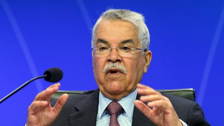 Saudi Arabia's Minister of Petroleum and Mineral Resources Ali Ibrahim Naimi delivers a speech during a seminar of the Organization of the Petroleum Exporting Countries, OPEC, at the Hofburg palace, in Vienna, Austria, Wednesday, June 3, 2015. (AP Photo/Ronald Zak)