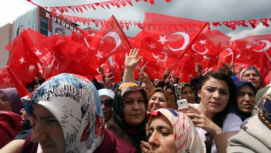 June 5, 2015 - Supporters cheer Turkey's President Recep Tayyip Erdogan at an election rally ahead of Sunday's general election in Ankara, Turkey. A Turkish minister says 2 are dead following 2 explosions at a Kurdish party election rally in southeast Turkey.