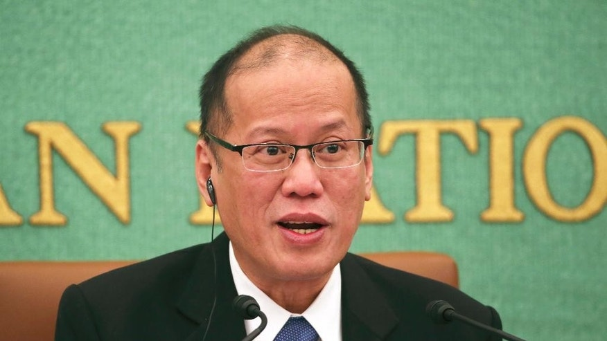 Philippine President Benigno Aquino III speaks during a press conference at the Japan National Press Club in Tokyo, Friday, June 5, 2015. Aquino said he wants to start talks toward signing a pact legally allowing Japanese troops to visit his country and join a wide range of operation, signaling expanded Japanese troop presence in the South China Sea. Aquino said a visiting forces agreement would accommodate refueling and other needs for Japanese troops while in the Philippines. Manila has similar deals with the U.S. and Australia. (AP Photo/Koji Sasahara)