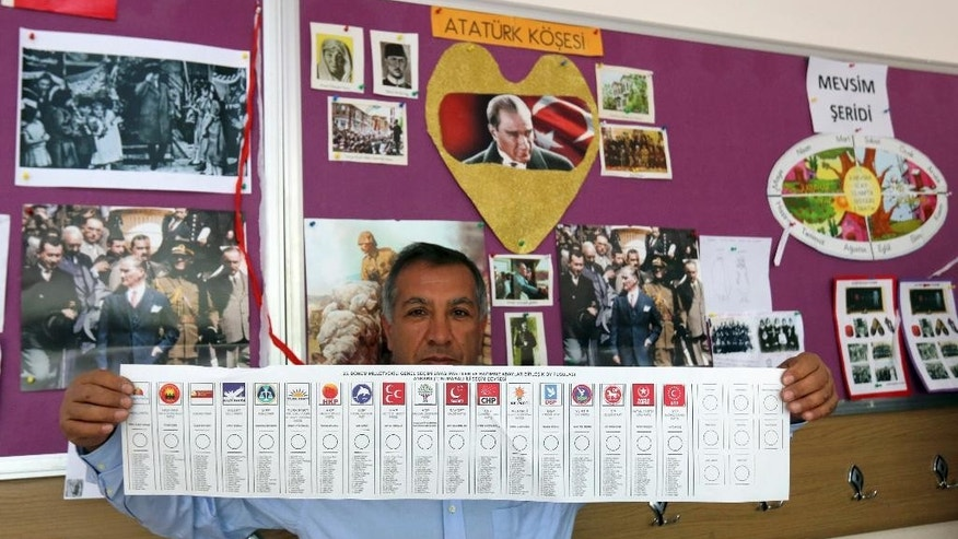 A polling station official shows a ballot paper with the names of political parties participating in nationwide elections in a primary school in Ankara, Turkey, Sunday, June 7, 2015. Turkey is holding Sunday a general election and approximately 56 million Turkish voters are eligible to cast their ballots to elect 550 members of national parliament. (AP Photo/Burhan Ozbilici)