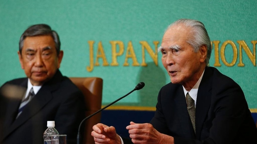 "Japan's former Prime Minister Tomiichi Murayama, right, speaks as former Chief Cabinet Secretary Yohei Kono listens during a press conference at the Japan National Press Club in Tokyo, Tuesday, June 9, 2015. The two former Japanese political leaders known for their key apologies over Japan's World War II aggression said Tuesday that Prime Minister Shinzo Abe should not water down their words. Murayama, who authored Japan's landmark 1995 apology marking the 50th anniversary of the war's end, demanded that Abe ""honestly spell out"" the country's wartime actions to address growing international concern that he may revise history. (AP Photo/Shizuo Kambayashi)"