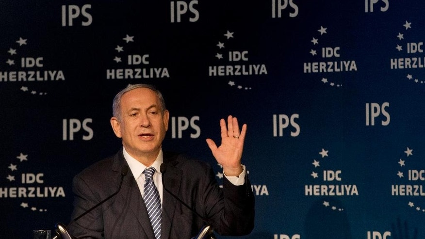 Israeli Prime Minister Benjamin Netanyahu speaks at the 15th Herzeliya Conference in Herzeliya, Israel, Tuesday, June 9, 2015. (AP Photo/Ariel Schalit)