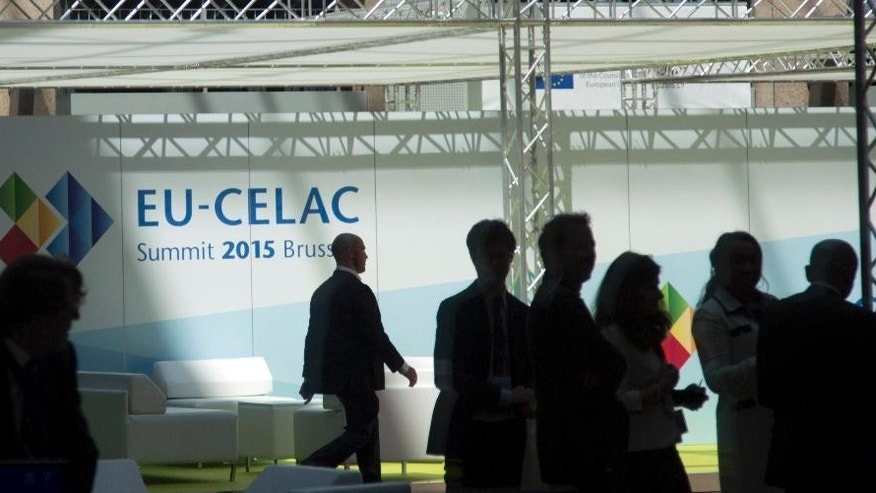 Delegations begin to gather for the EU-CELAC summit in Brussels on Wednesday, June 10, 2015. European leaders and their Latin America and the Caribbean counterparts meet on a biannual basis in an effort to maintain international and economic ties. (AP Photo/Virginia Mayo)
