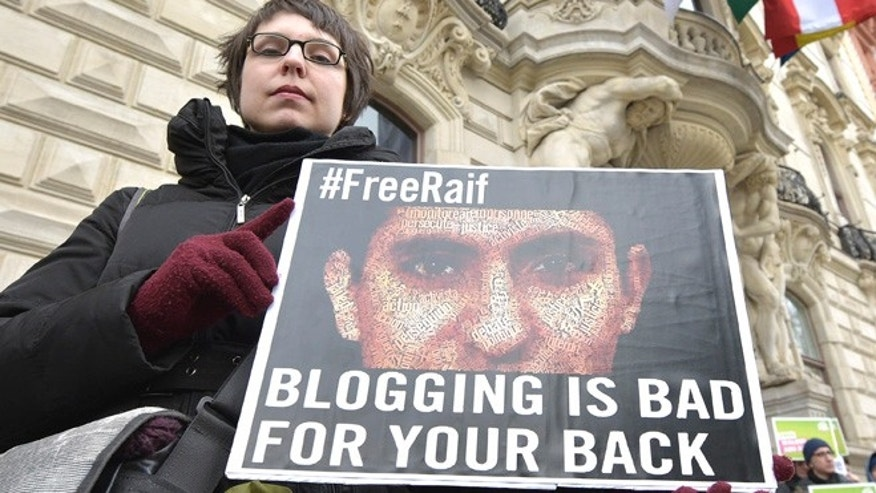 Feb. 6, 2015: A protest against the punishment for Saudi blogger Raif Badawi in Vienna, Austria.