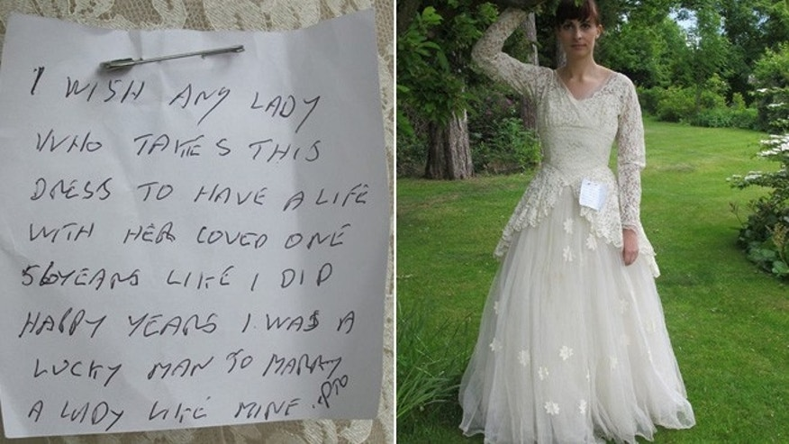 The note left on the wedding dress, modeled by an employee of St. Gemma's Hospice.