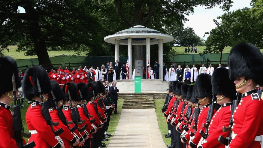 June 15, 2015 - Soldiers provide an honor guard before the Magna Carta Memorial at Runnymede, England, at  a ceremony to celebrate the 800th anniversary of the groundbreaking accord.