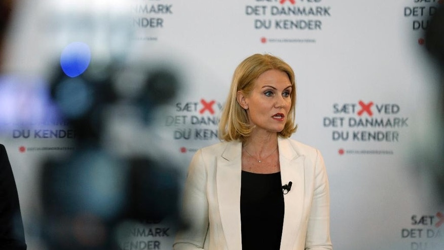 The Social Democrats, headed by Prime Minieter Helle Thorning-Schmidt, held it's closing press conference of their election campaign in the Danish Parliament Christiansborg Castle Wednesday June 17. 2015, in Copenhagen. Denmark will hold a mandatory general election Thursday June 18 after almost four-years of coalition Government between the Social Democrats and the Social-Liberal Party. (Jens Dresling/Polfoto via AP) DENMARK OUT