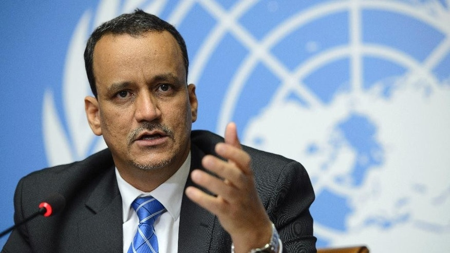 UN Special Envoy for Yemen Ismail Ould Cheikh Ahmed speaks during a press conference at the European headquarters of the United Nations, in Geneva, Switzerland, Friday, June 19, 2015. Cheikh Ahmed said peace talks between the exiled Yemeni government and Shiite rebels who control the capital have concluded without reaching an agreement. (Martial Trezzini/Keystone via AP)