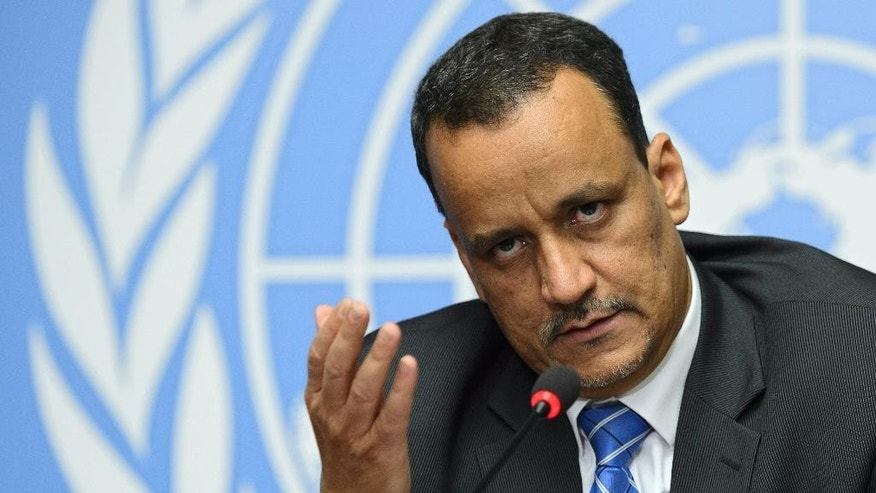 United Nations Special Envoy for Yemen Ismail Ould Cheikh Ahmed speaks during a press conference at the European headquarters of the United Nations, in Geneva, Switzerland, Friday, June 19, 2015. Cheikh Ahmed said peace talks between the exiled Yemeni government and Shiite rebels who control the capital have concluded without reaching an agreement. (Martial Trezzini/Keystone via AP)