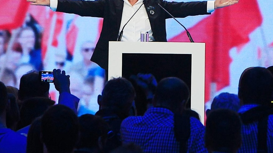 Opposition party's candidate for prime minister, Beata Szydlo, speaks during the Law and Justice electoral convention in Warsaw, Poland, on Saturday, June 20, 2015. She is deputy head of the conservative Law and Justice party and heads its electoral campaign for the fall general elections. (AP Photo/Czarek Sokolowski)